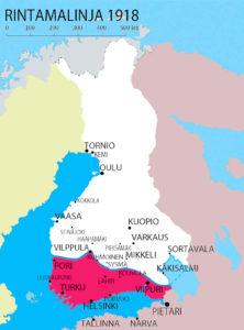 Etelä-Suomen kaupungit punakaartien hallussa.