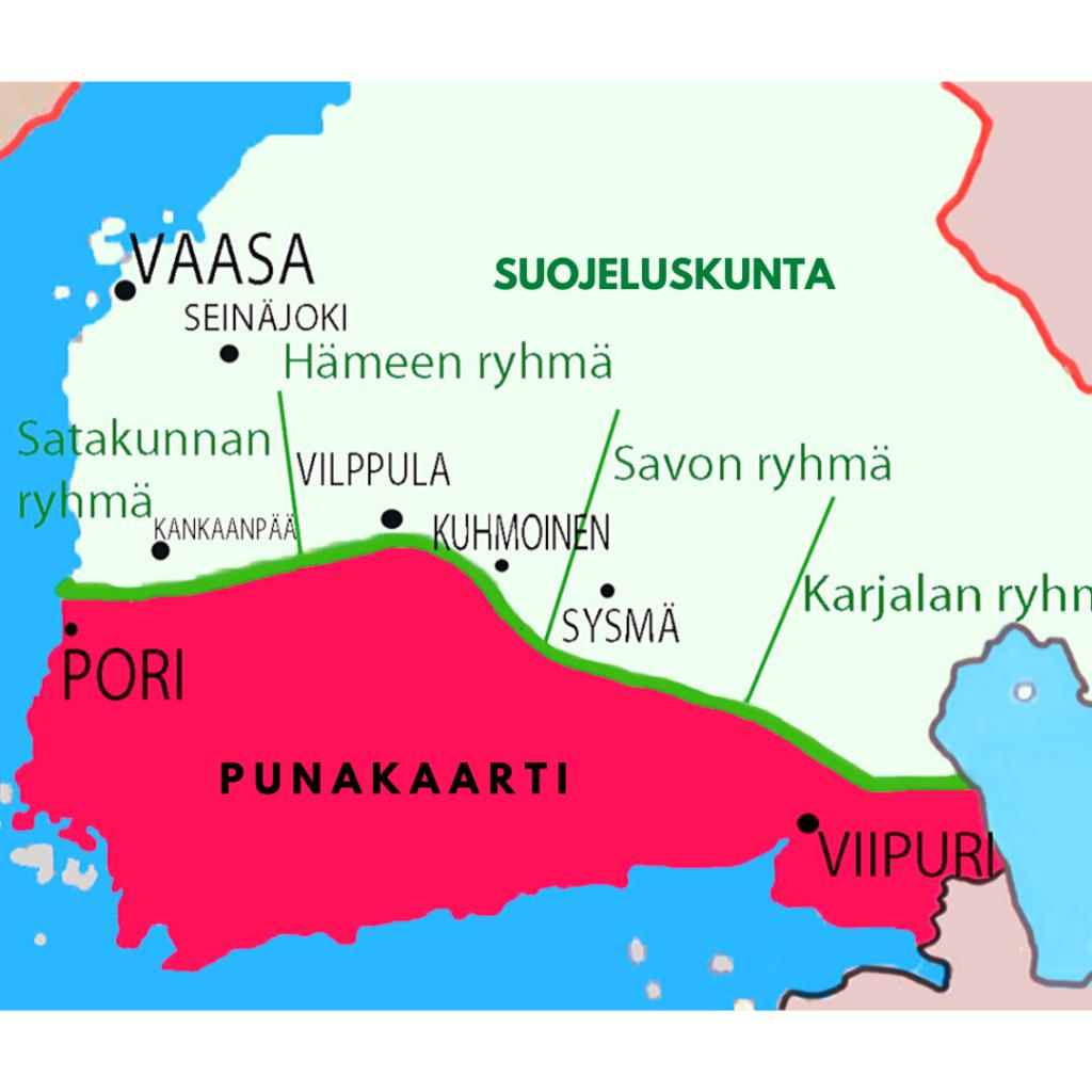 Sodan 1918 osapuolet: Suojeluskunta, valkoisten ryhmitys kartassa vihreällä. Punakaarti, läntinen, keskinen ja itäinen rintama kartassa punaisella.