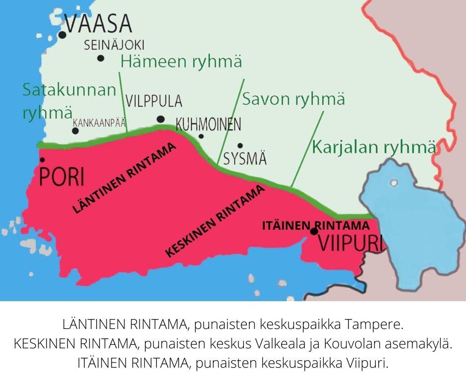 Punakaartin otti sodan alussa haltuunsa Etelä-Suomen.