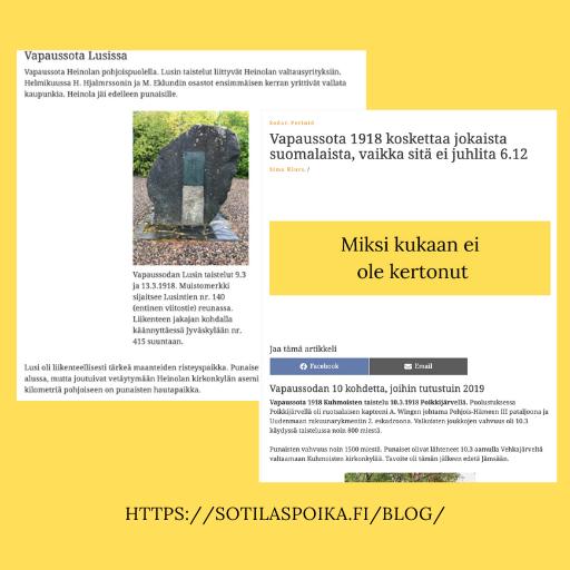Vapaussota 1918 koskettaa jokaista suomalaista
